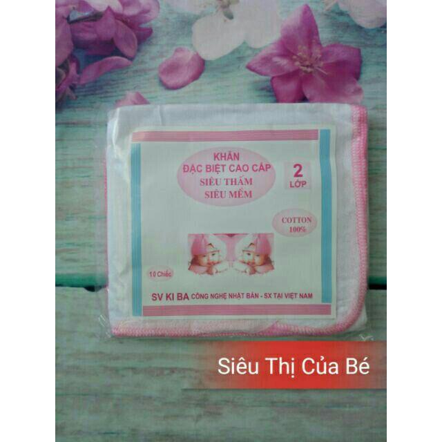 Khăn xô sữa kiba siêu thấm, siêu mềm 2 lớp ( 1 bịch 10 khăn)