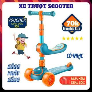 Xe trượt scooter cho bé , có nhạc có đèn kiêm xe chòi chân 2 trong 1.