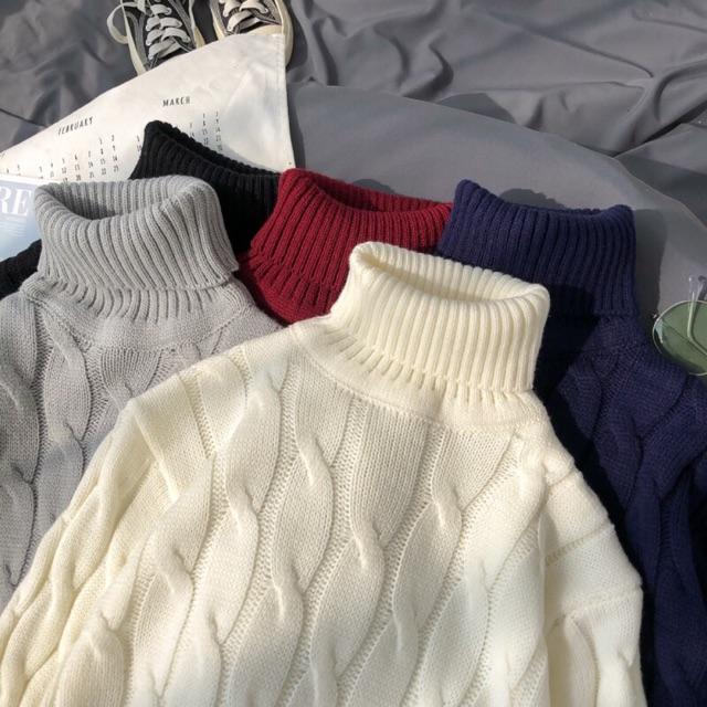 Áo len nam VẶN THỪNG cổ lọ mẫu mới 2020 - Áo len đan nam cổ cao BITULA