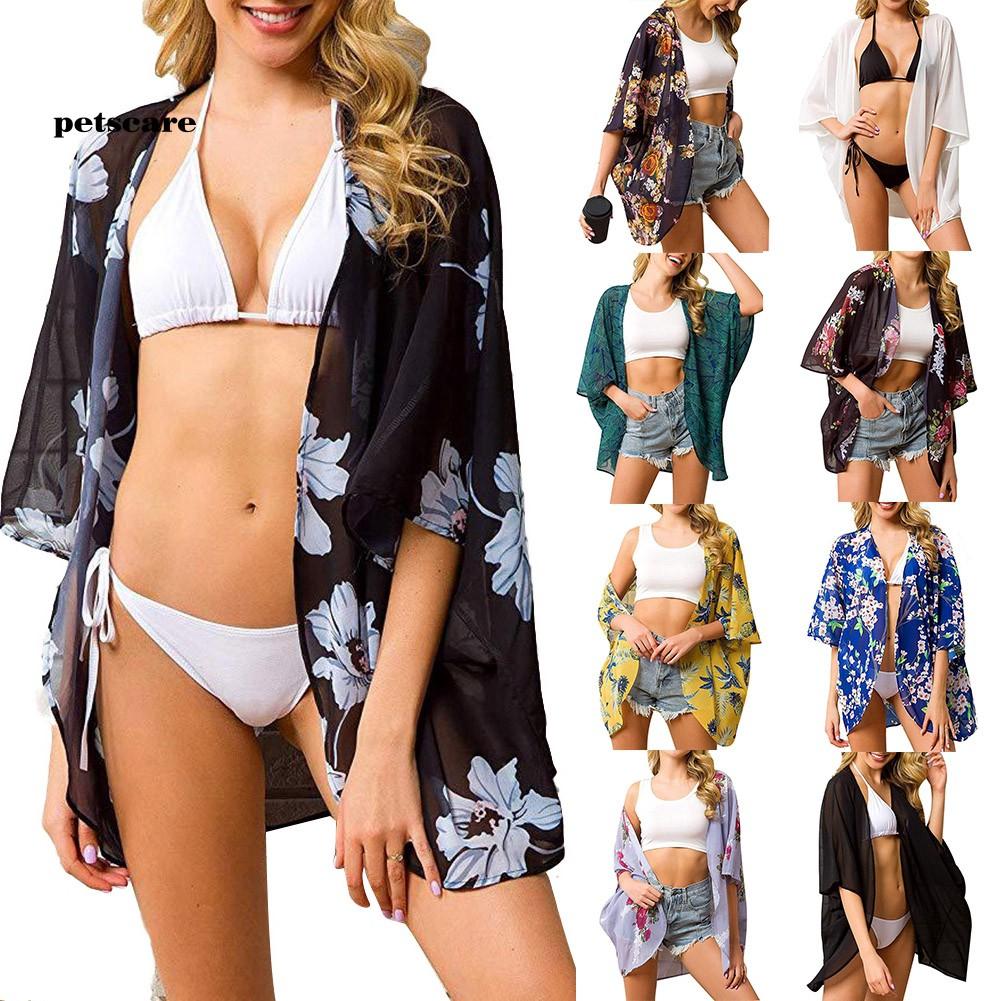 Ptcr_Summer Women Flower Print Beach Bikini Cover UpLoose Half Sleeve Cardigan Top