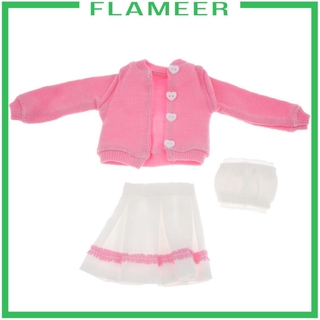 [FLAMEER] 1/6 Doll Clothes Suit Pleated Skirt 3pcs Set for 12″ BJD PH Doll Accessories