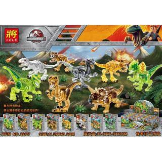 Đồ chơi lắp ráp lego khủng long jurassic world Lele 39127 trọn bộ 8 hộp như hình.