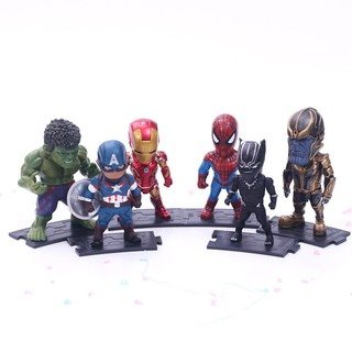 Bộ mô hình nhân vật The avengers 6 Q phiên bản của đội trưởng Mỹ- Iron Man- Haike -Panther- Người nhện