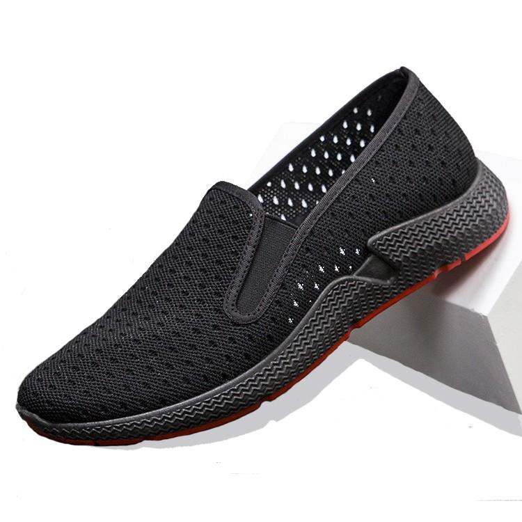 Giày Lười Nam Vải Tricot Kiểu Dáng Đơn Giản Dễ Đi Siêu Thoáng Mát Dạng Lưới Và Trơn