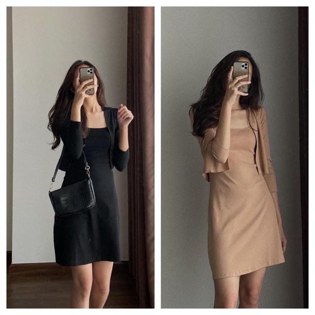 ♙┋Bộ Váy 2 Dây Áo Khoác Dài Tay Nữ  Set Áo Khoác Mỏng Kèm Đầm 2s