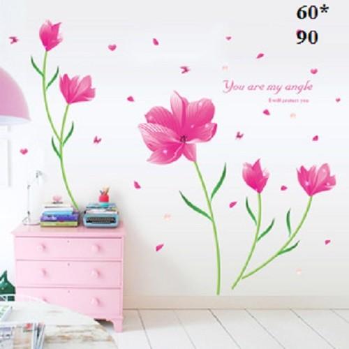 Decal dán tường hoa dừa hồng