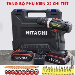 Máy khoan pin Hitachi 28V Có Búa - Máy khoan bắt vít Hitachi - Tặng bộ phụ kiện