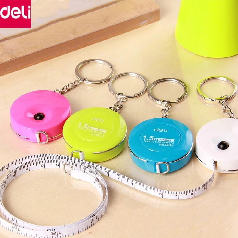 Thước dây cuộn rút 1,5 met có thể đeo móc chìa khóa Deli 8213