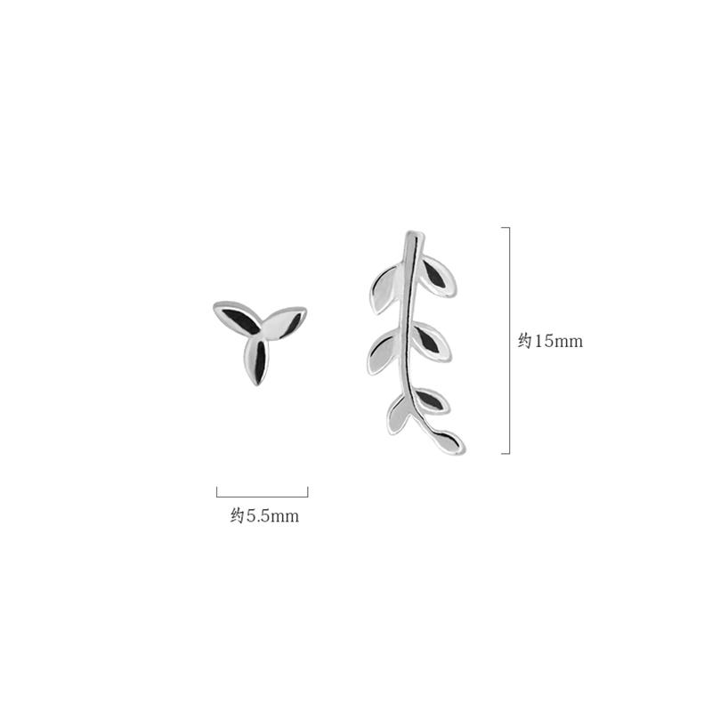 Bông tai bạc dạng xỏ hình chiếc lá phong cách Hàn Quốc đơn giản thời trang cho nữ