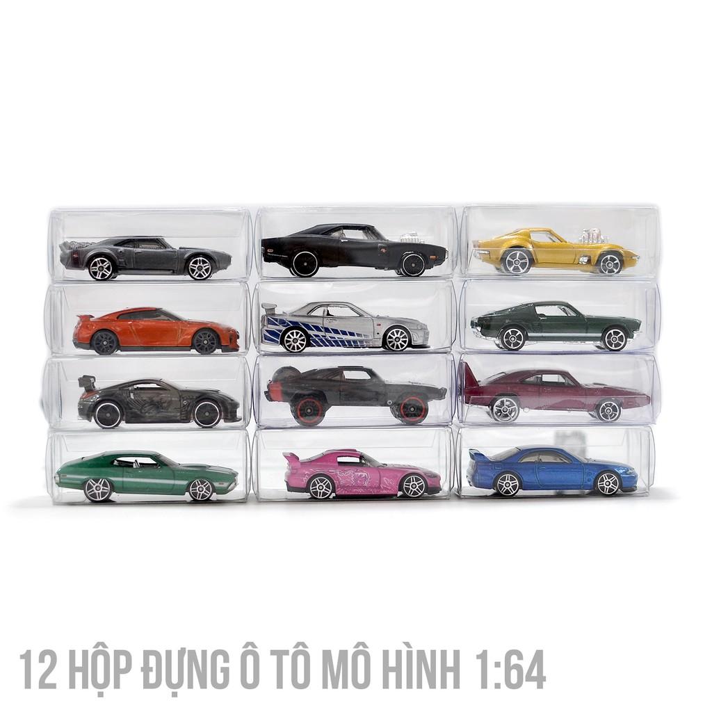 12 Hộp PVC trong suốt đựng bảo quản xe mô hình 1:64 Hot Wheels TOMICA Kyosho