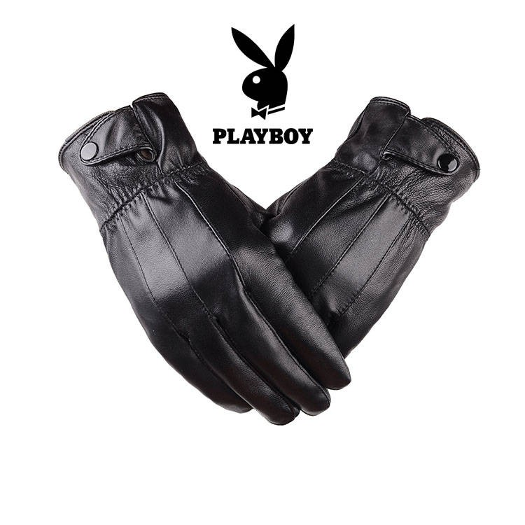 ㍿Gloves-Hot Selling 10,000-Playboy Genuine-Pure sheepskin-Gloves men's leather touch screen warm driving sheepskin glov