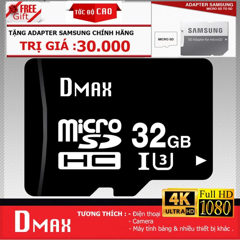 Thẻ nhớ 32Gb tốc độ cao U3, up to 90MB/s Dmax Micro SDHC - Bảo hành 5 năm đổi mới + Tặng adapter Sam - 2740971 , 1231691243 , 322_1231691243 , 229000 , The-nho-32Gb-toc-do-cao-U3-up-to-90MB-s-Dmax-Micro-SDHC-Bao-hanh-5-nam-doi-moi-Tang-adapter-Sam-322_1231691243 , shopee.vn , Thẻ nhớ 32Gb tốc độ cao U3, up to 90MB/s Dmax Micro SDHC - Bảo hành 5 năm đổ