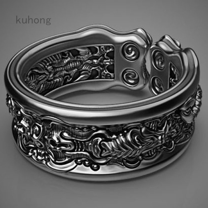 Black Scorpion Pattern Rings Punk Party Jewelry For Father