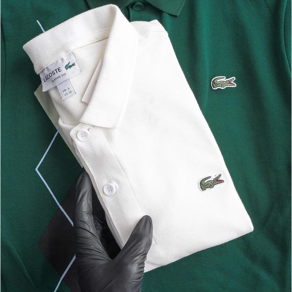 [ GIÁ SOCK ] Áo Polo Lacoste Trắng Xịn Có Cổ - Chất Liệu 100% Cotton Pique