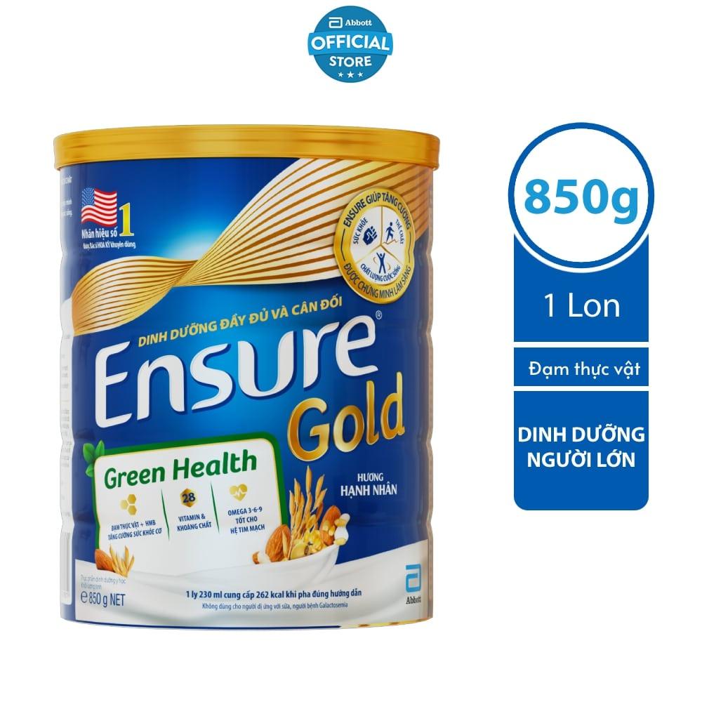 Sữa bột Ensure Gold Đạm thực vật hương hạnh nhân 850g/lon