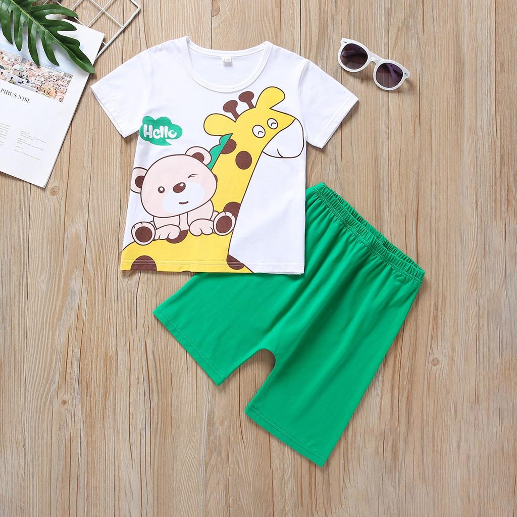 Newborn Infant Baby Boys Cartoon Print T Shirt Tops Shorts Outfits Sets