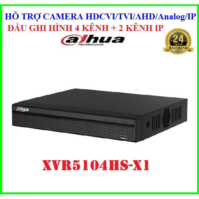 Đầu ghi hình 4 kênh 5 trong 1 Dahua XVR5104HS-X1, hỗ trợ camera HDCVI/TVI/AHD/Analog/IP, Chuẩn nén H265