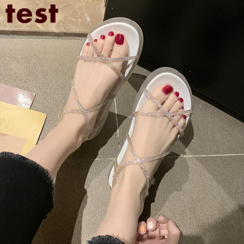 Thick-soled sandals female sponge cake rhinestones Roman shoes