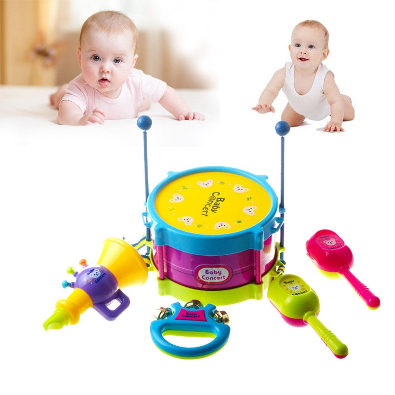 NOW-5pcs Baby Boy Girl Drum Musical Instrument Toy Kids Gifts Educational Toys