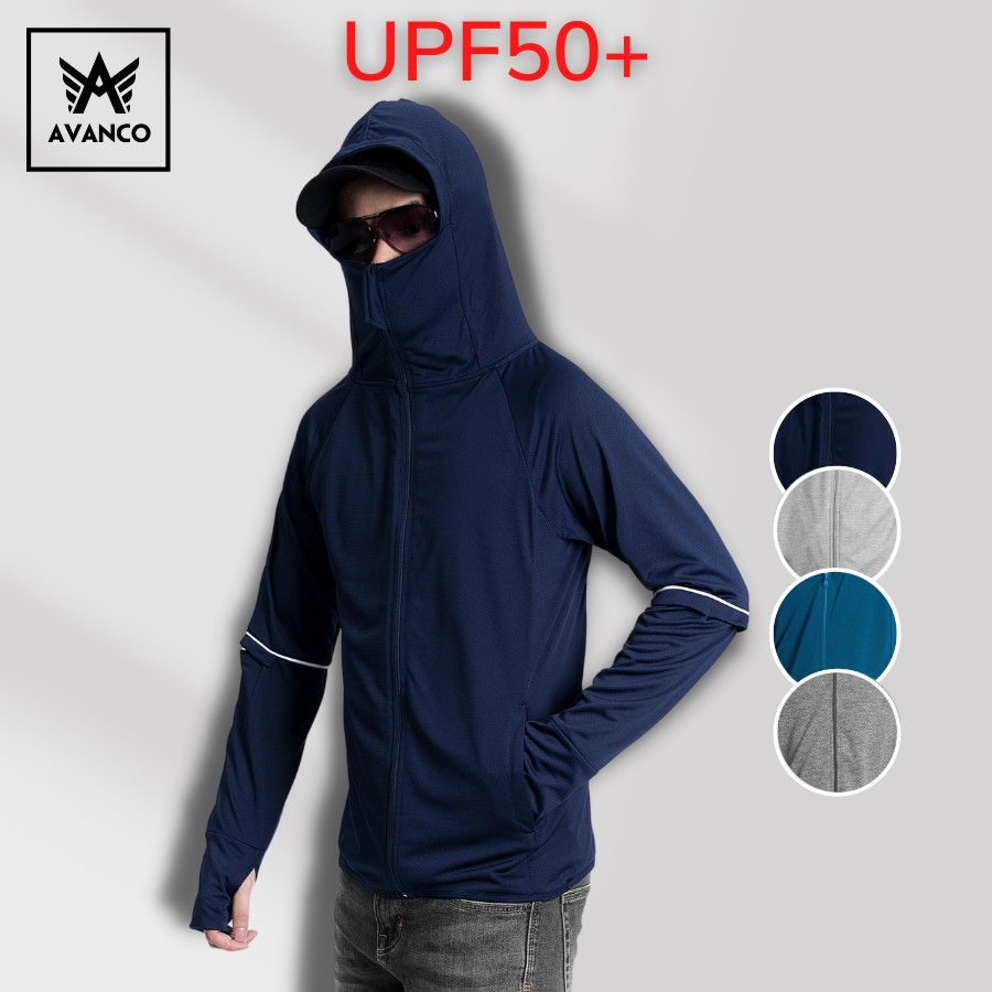 Áo chống nắng nam AVANCO kéo cao che mặt chống tia UV chuẩn UPF50+ thoáng mát