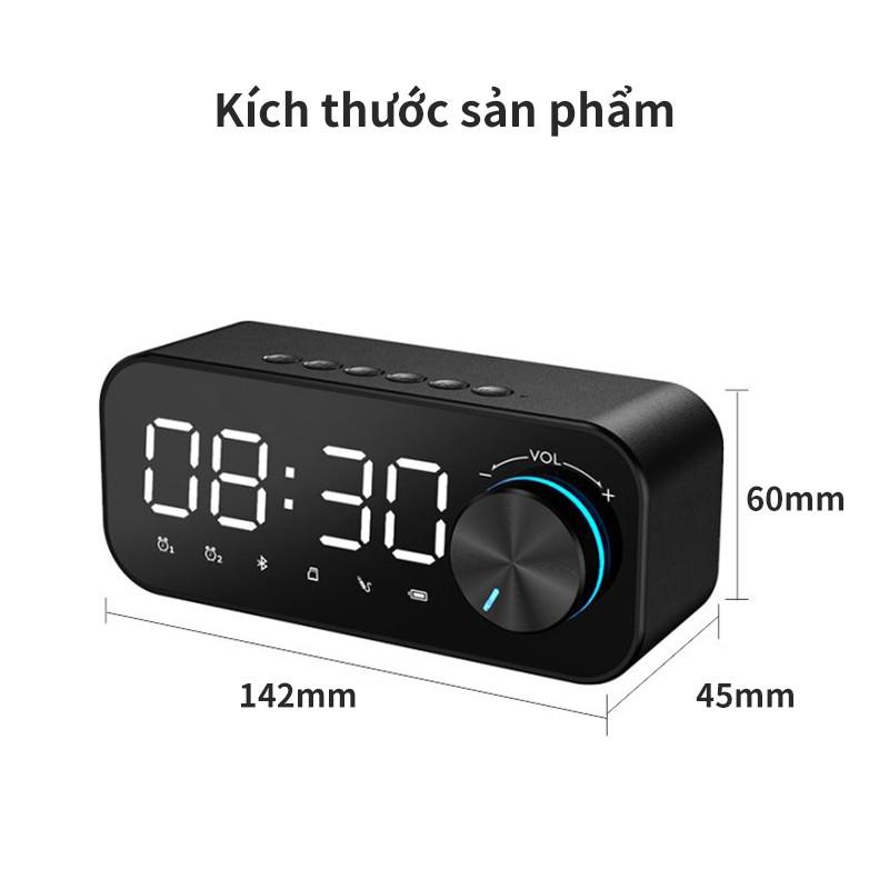 Loa Bluetooth loa mini đồng hồ điện tử để bàn mặt tráng gương âm thanh cực chất hỗ trợ thẻ TF báo thức-SUNHAI B126
