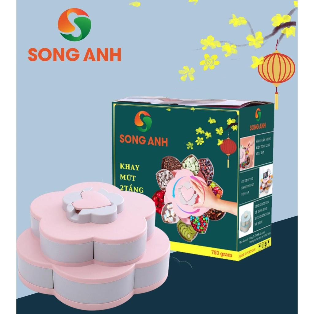 Khay mứt xoay 2 tầng hoa sen SONG ANH, Khay bánh kẹo 10 ngăn (MÀU HỒNG) - Tặng  Bao Lì Xì Tết 2021