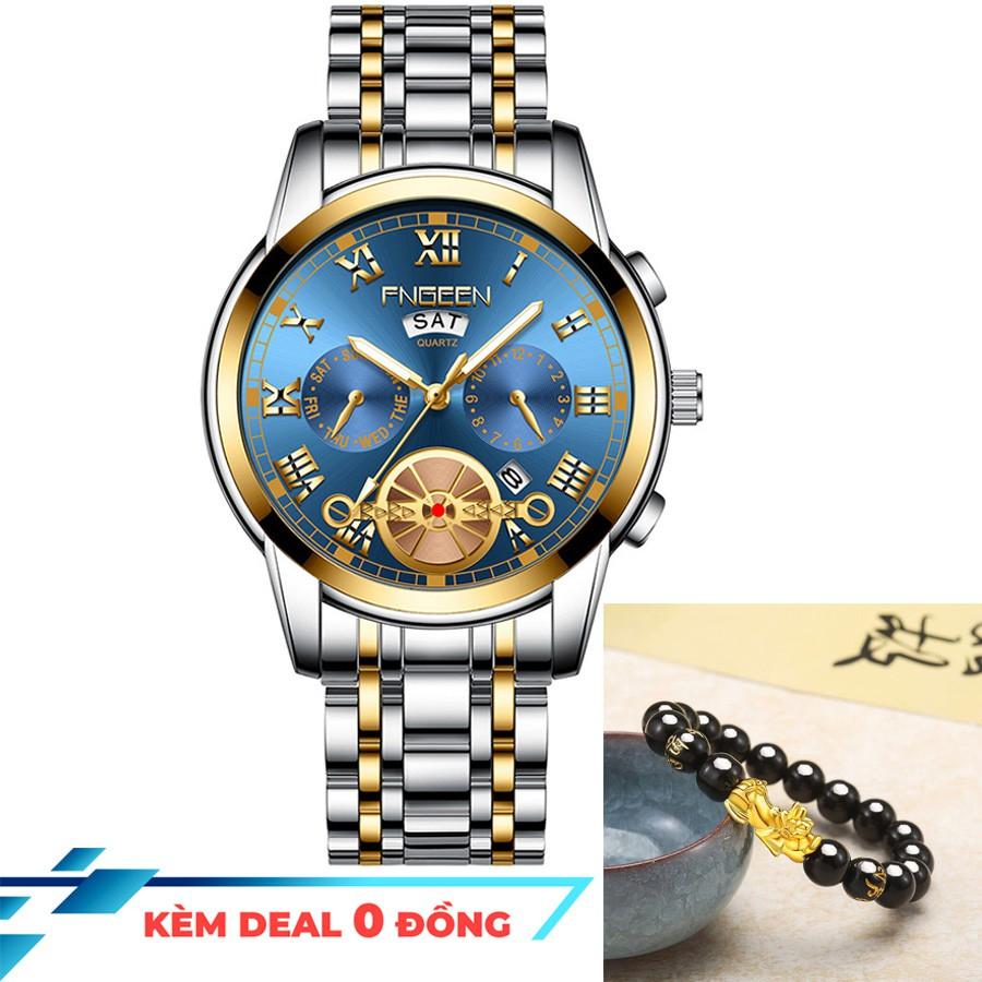 Đồng hồ nam FNGEEN G4001 - Đồng hồ chạy 2 Lịch  dây hợp kim thép không gỉ - Tặng vòng tay phong thủy