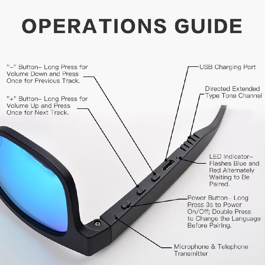 Kính Mát Thông Minh 3 Trong 1 Có Kết Nối Bluetooth 5.0 Chống Nước Ipx7 Kèm Phụ Kiện