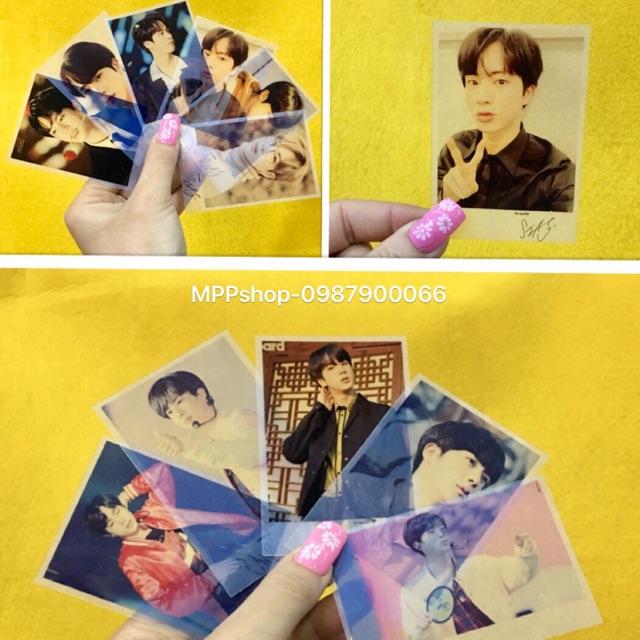 Combo 7 ảnh card polaroid trong suốt JIN BTS có chữ ký ngẫu nhiên