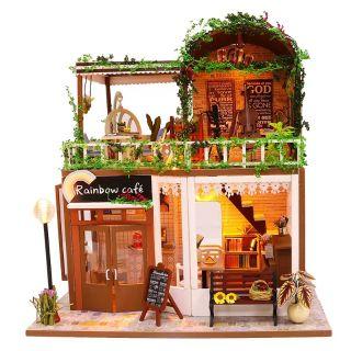 Kèm Mica – Mô hình nhà gỗ búp bê Dollhouse DIY – M906 Rainbow Coffee
