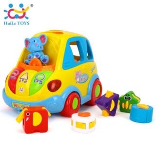 Xe Bus thả khối thông minh Smart Bus Huile Toys (chạy pin, phát nhạc, âm thanh, dạy học …)