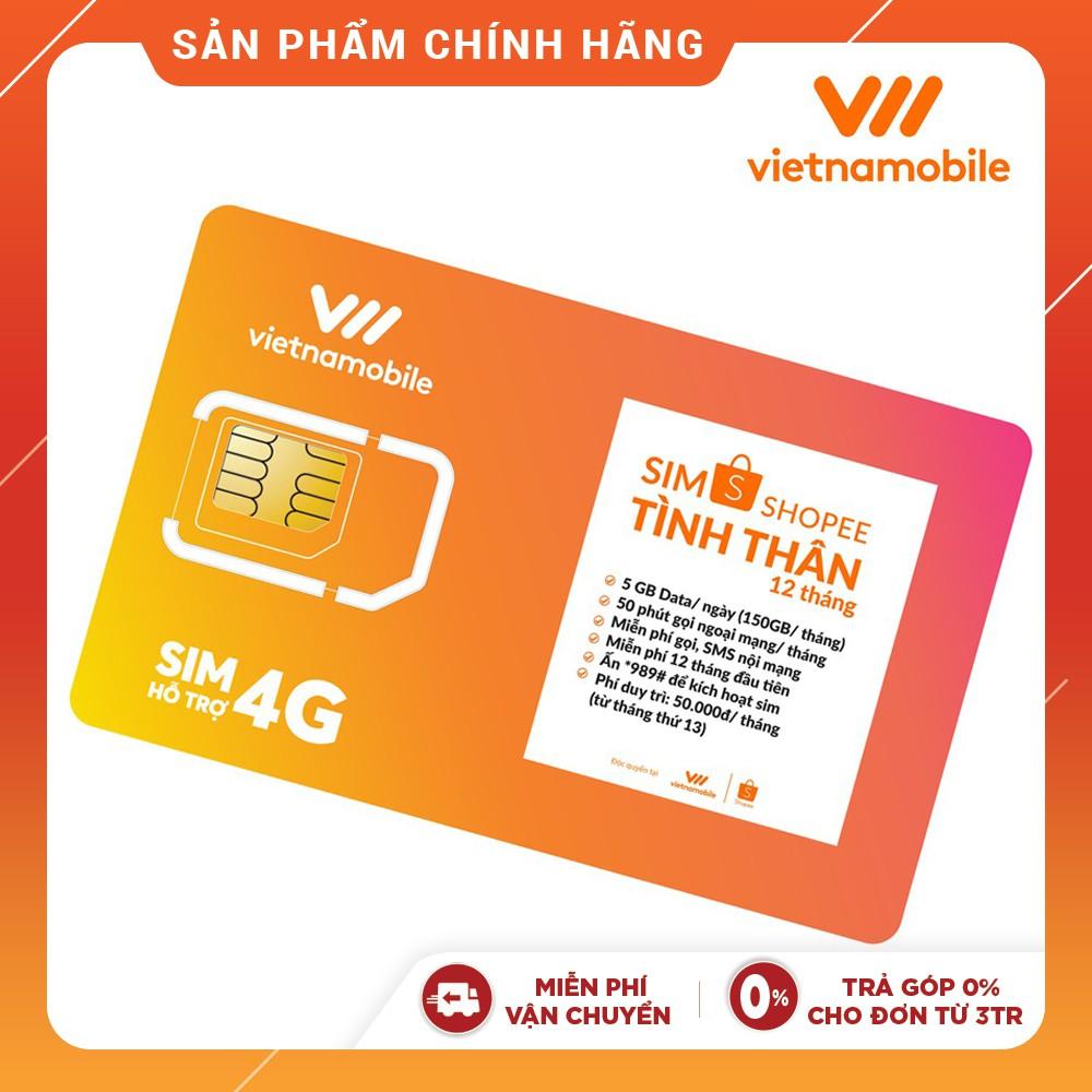 [Mã ELVNM1111 giảm 15% đơn 200k] [Miễn Phí 12 Tháng]Sim Tình Thân Free Nghe gọi và Data 5GB/ngày-Vietnamobile Official