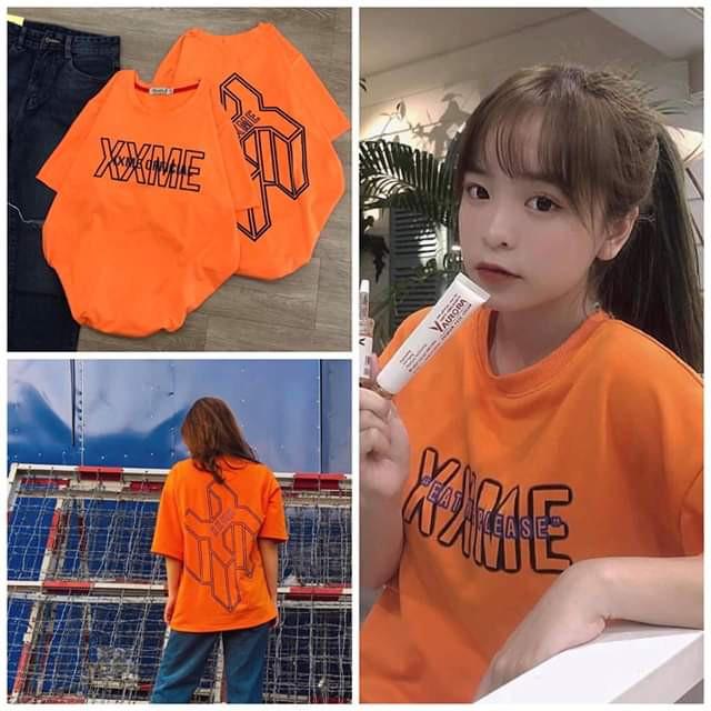 Áo thun Nữ đẹp ngắn tay cổ tròn XXME Cam tay lỡ Cotton 95% in 6D hàng Quảng Châu chất lượng cao giá rẻ