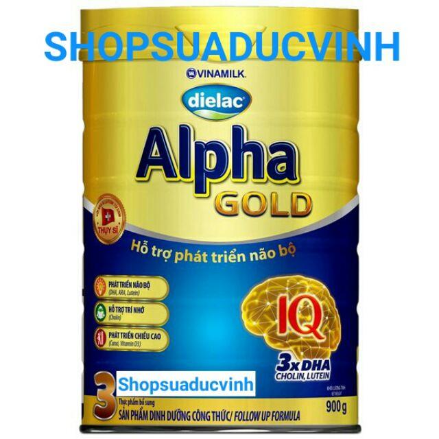(TKB0718W1B giảm 20k) Sữa bột Alpha Gold 3 900g date 2020