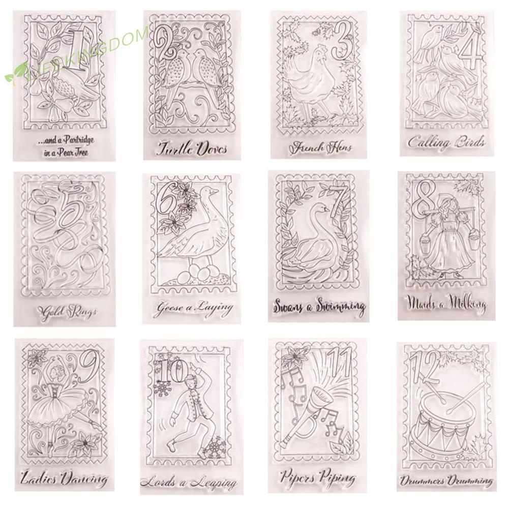 LifeKingdom 12pcs Christmas Clear Stamp Sticker DIY Scrapbook Handbook Card Album Photo Seal