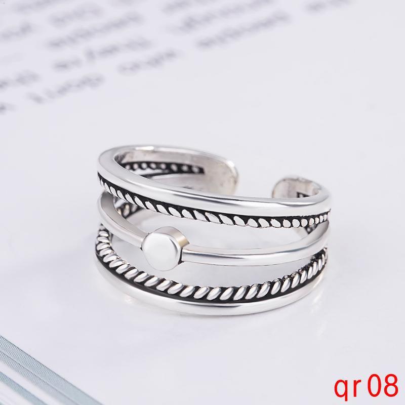 เครื่องประดับที่สมบูรณ์แบบง่ายไทยแหวนเงินหญิงวินเทจเปิดดัชนีแหวนนิ้ว