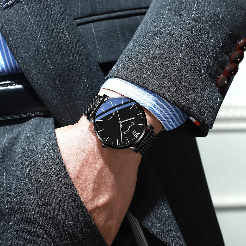 นาฬิกาข้อมือ Crnaira เข็มขัดเหล็กบางเฉียบดูชายแฟชั่นเกาหลีนักเรียนควอทซ์กันน้ำของผู้ชายนาฬิกาของขวัญวันเกิดชาย