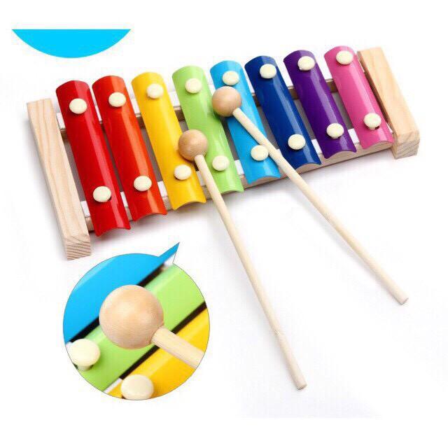 Đồ chơi Đàn Piano Xylophone gỗ 8 thanh quãng - Đồ chơi âm nhạc cho bé giúp trẻ phát triển năng khiếu âm n