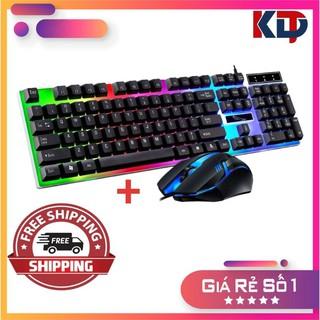 Combo Bàn phím chuột giả cơ chuyên game cao cấp g21 led 7 màu
