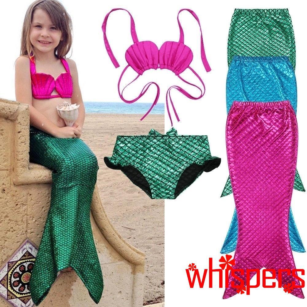 Set đồ bơi gồm 3 món thiết kế hóa thân thành nàng tiên cá xinh xắn dành cho bé gái