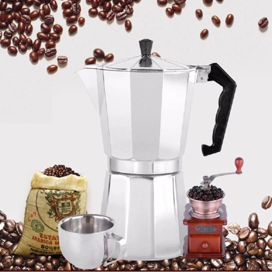 Ấm, Bình Pha Cà Phê Moka Espresso Tại Nhà - Ấm Pha Coffee Kiểu Ý - Tiện Lợi Dễ Sử Dung - Có Video, Ảnh Thật