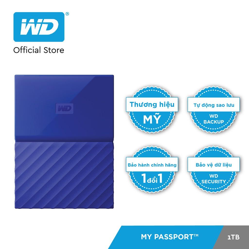 [Mã ELMALLD300 giảm 10% đơn 300K] Ổ cứng WD My Passport 2.5 INCH 1TB Portable (Xanh)- Hãng Phân Phối Chính Thức