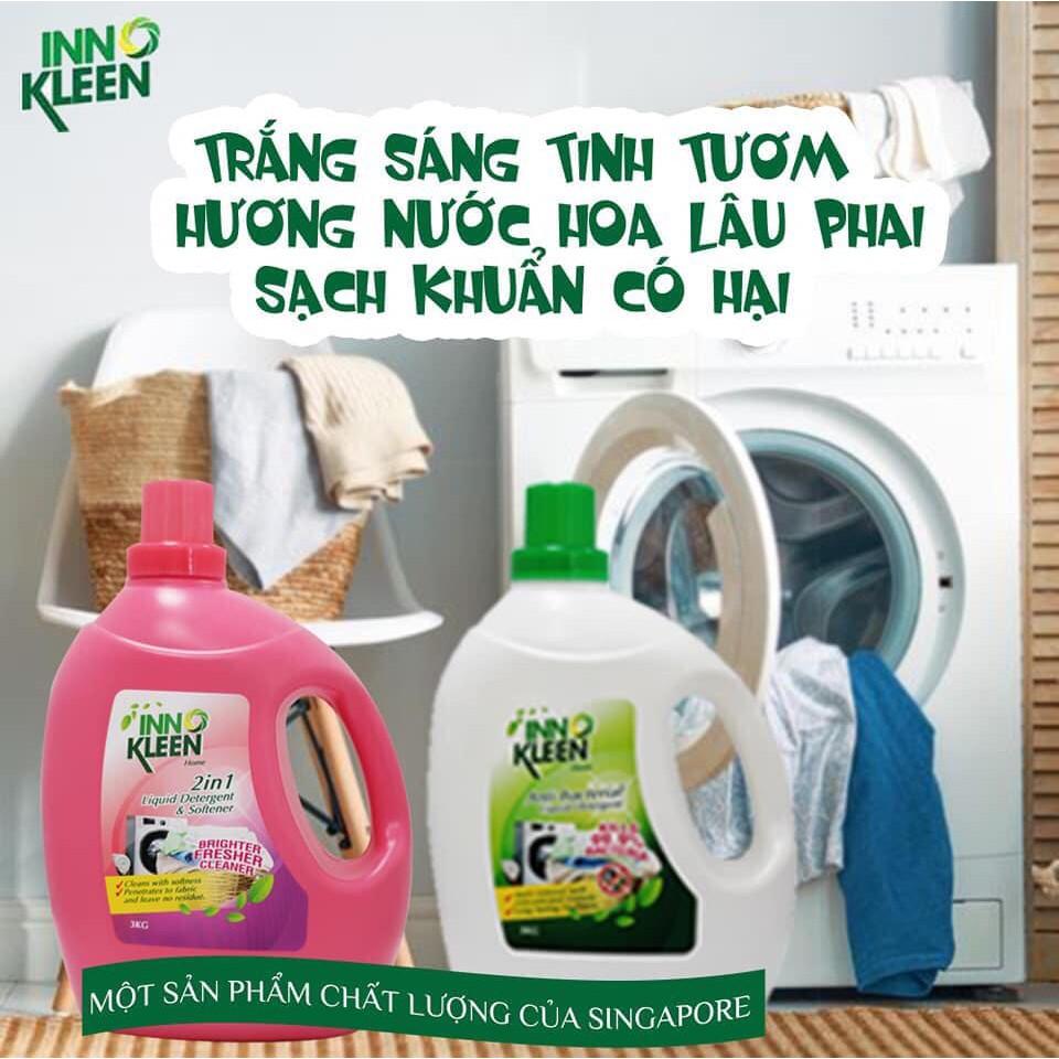 Nước giặt, giặt xả 2 trong 1 trắng sáng, giữ bền mầu và sạch khuẩn INNO KLEEN (3L)