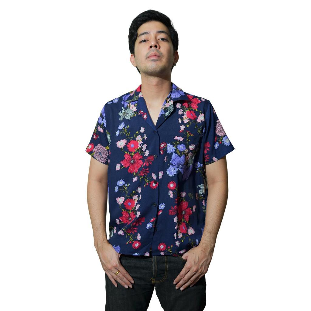 เสื้อเชิ้ตแฟชั่น ลายดอก ฮาวาย ยุค90 พื้นสี Purple ไซส์มาตรฐาน แบรนด์ KOPBLA ใส่เที่ยว/ใส่ทํางาน [KB007]สื้อเชิ้ตแฟชั่น ล