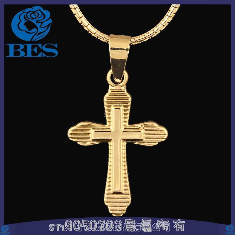 ข้ามจี้ชุบทอง 18 k พระเยซูจี้ทองแดงเครื่องประดับ b 093 สร้อยคอ unisex