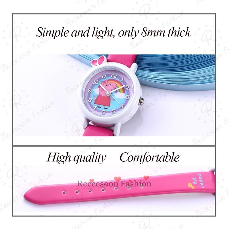 Đồng hồ đeo tay kiểu hoạt hình heo Peppa dành cho bé