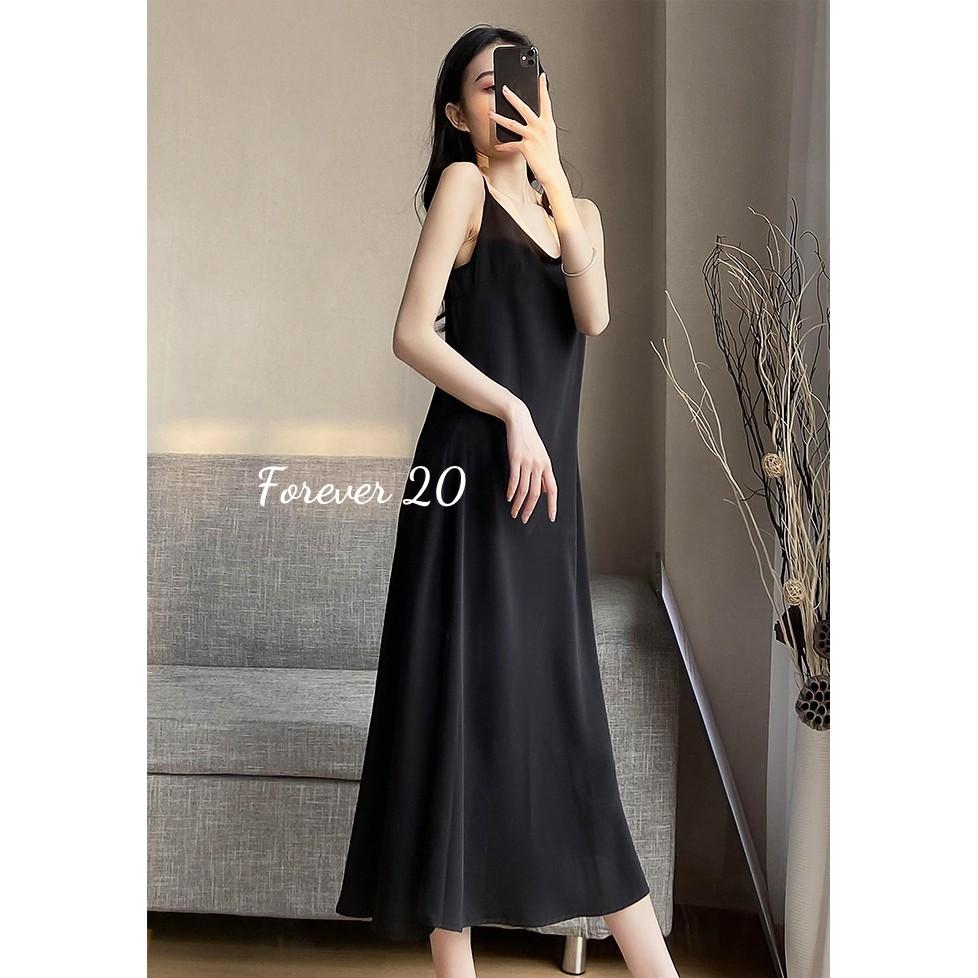Váy 2 dây, đầm hai dây ulzzang, dáng dài, chất lụa dày dặn đẹp, 3 màu đen, trắng