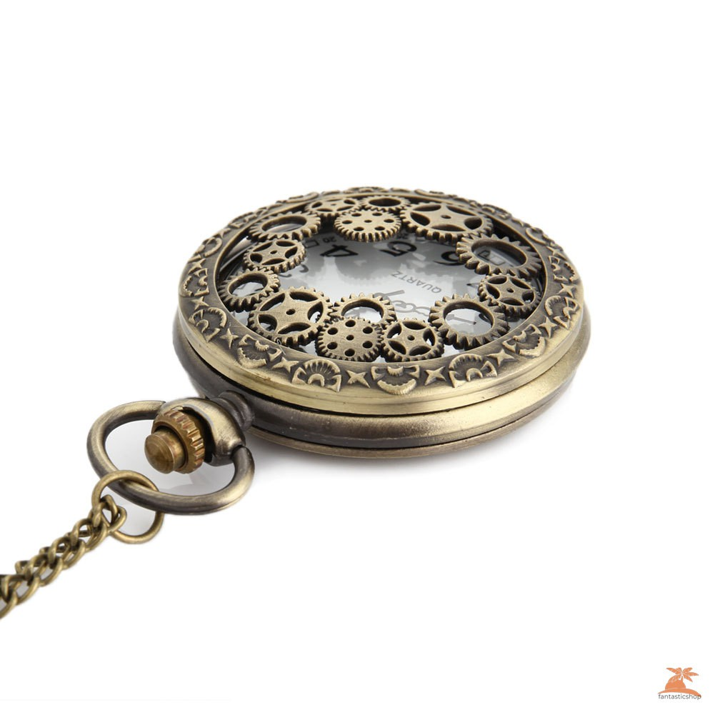 #Đồng hồ bỏ túi# Retro Design Hollow Gear Fob Watch Vintage Bronze Pocket Watch Necklace Chain Pendant