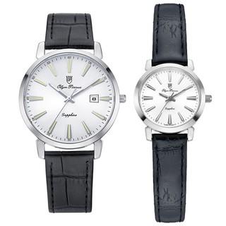 Đồng hồ đôi nam nữ dây da mặt kính chống xước Olym Pianus OP130-03 MS LS-GL trắng thumbnail
