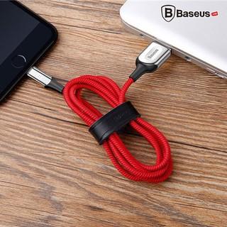 Cáp sạc Baseus X Lighting cho iPhone 6/ 7/ 8/ iPhone X (Sạc nhanh, Sợi Carbon Siêu Bền, Led đổi màu khi sạc đầy, 2.4A)
